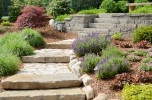 Landscaping with stone path and stone steps.